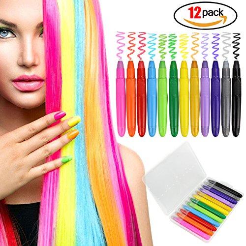 Kreide-Haar für Kinder von filles-12Kugelschreiber-Set-Kreide-coloriertes Haar, Farbe des Haar-Farbe des Metallischen Pailletten temporäre, großen Geburtstagsgeschenk anwesend PO (Ein-dollar-kugelschreiber)