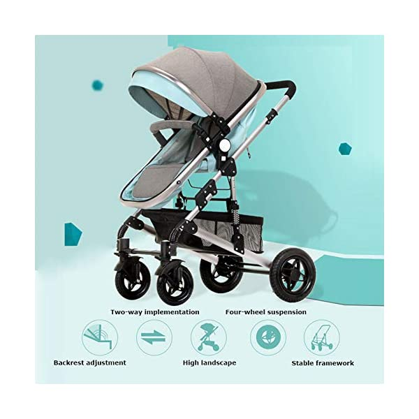 GHH Double Strollers Baby Pram Tandem Buggy Newborn Pushchair Ultra Light Folding Child Shock Absorber Trolley Can Sit Half Lying 0-3 Years Old,60kg Maximum,UpgradedversionBlue GHH 1. {Four seasons can be} - Three-sided mesh design, the awning can be adjusted to multiple angles, easy to cope with the sun 2. {75CM high landscape} - Baby can stay away from the ground heat, car exhaust to ensure your baby's health 3. {Multiple shock absorption design} - Body frame spring shockproof, rear wheel, two wheel brakes, wheel spring shockproof, baby safety 3