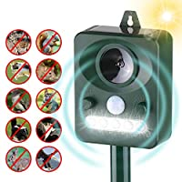 ‏‪Festnight Solar Ultrasonic Pest Repeller Outdoor Animal Repeller with Ultrasonic Sound Motion Sensor and Flashing Light Keep Animals Away Repellent Squirrels Mouse Bird Cat Dog Bat‬‏