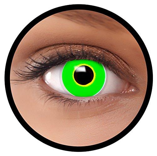 FXEYEZ® Farbige Kontaktlinsen grün Frosch + Linsenbehälter, weich, ohne Stärke als 2er Pack - angenehm zu tragen und perfekt zu Halloween, Karneval, Fasching oder Fasnacht