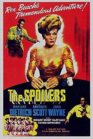 The Spoilers, Marlene Dietrich, Randolph Scott, John Wayne, 1942- affiche de réimpression 16x24 pouces - sans cadre