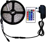 WenTop RGB LED Strip Lights Kit,Non-Waterproof 5m LED ribbon,SMD 5050 16.4 Ft(5M) 150 LEDs DC 12V RGB LED Strip with Power Supply and 24key Remote,Multi-coloured LED Tape for TV Backlight and Decorative Lighting