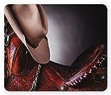 ELIST 25X30cm Tapis de Souris Occidental, Selle de Cheval avec Un Chapeau de Cowboy Sauvage, États du Texas à la Mode, fouettez-Le, Photographie, Tapis de Souris antidérapant en Caoutchouc