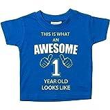 Das ist es, was eine Awesome 1Jahr aussieht, blau Tshirt 1. Geburtstag Baby Kleinkind Kinder erhältlich in den Größen 0-6Monaten bis 14-15Jahren Baby Schwester Geschenk - blau, 12-18 Monate