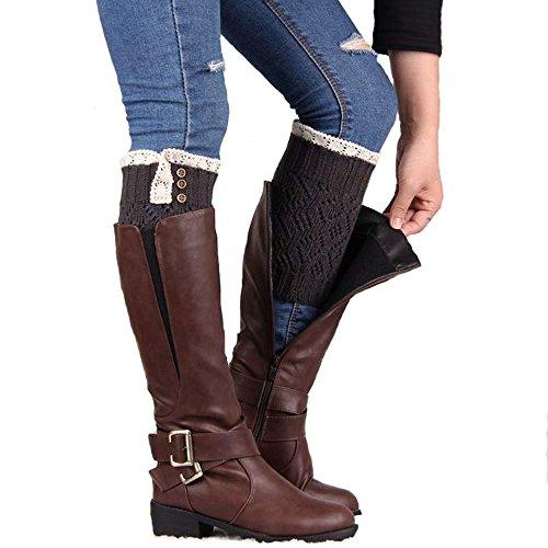 SUCES Socken Damen Gestrickt Schön Spitze Patchwork Winter Boot Stulpen Stiefel Abdeckung Strick Mode Frauen Warm Knit Socks (Dunkelgrau,one size) -