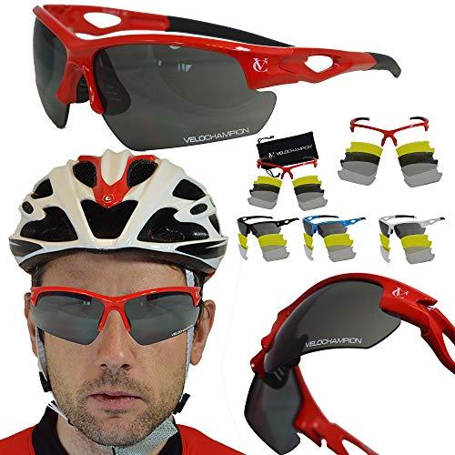 VeloChampion Tornado Sonnenbrille, Rot, mit 3 Linsen und weichem Gehäuse (Rot) -