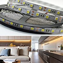 Bright Lightz® 5050 12v LED Strip Lights, Warm White Colour, 1 - 10 Metre Length, 60 x 5050 SMD LEDs per metre, 3M Adhesive Backing, High quality LED Tape (Ideal for Kitchen Lighting, Displays, Bathrooms, Plinth Lights, Under Cabinet Lighting, Etc) (1 Metre)