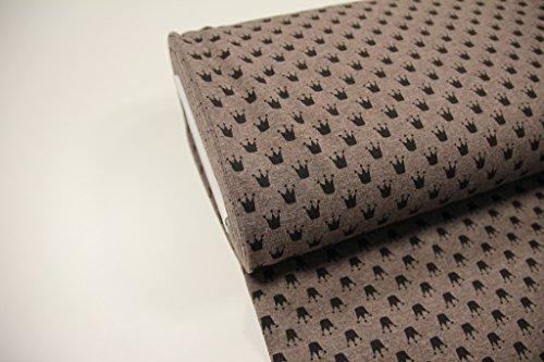 Stoff / 50cmx140cm / Kinder / beste Jersey-Qualität / Jersey / Sommer-Sweat Krone schwarz auf braun meliert