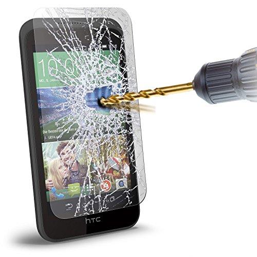 Lcd-ausgeglichenes Glas (i-Tronixs HTC Desire 320 Case Premium Quality Ausgeglichenes Glas Crystal Clear LCD Display-Schutzfolien-Packs mit Poliertuch & Application-Karte (1 Pack))