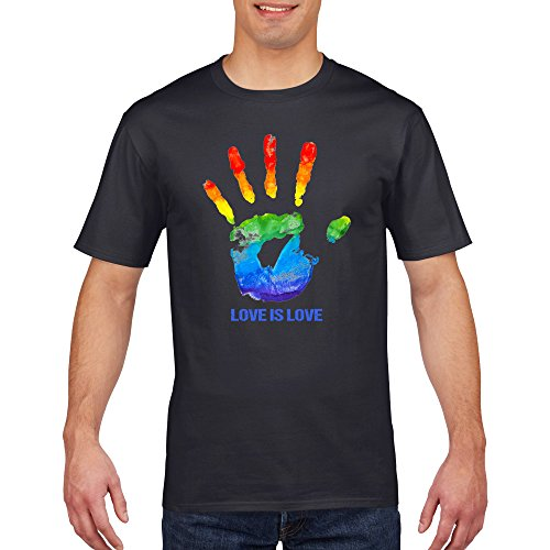Hand Print Love Is Love LGBT Gay Pride T Shirt (Lrg-print Jersey)