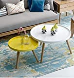 CLLCR Teetisch, Runder Couchtisch Im Wohnzimmer, Kleiner Beistelltisch Im Schlafzimmer, Runder Mini-Tisch, Kombinationsset,Weiß und gelb,70 cm + 50 cm