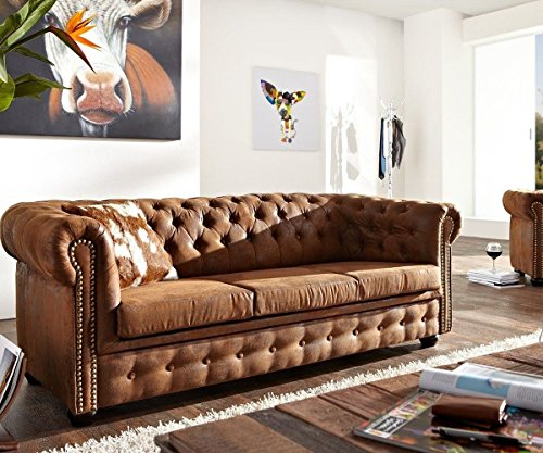 DELIFE 3-Sitzer Chesterfield Braun 200×92 cm Antik Optik Sofa