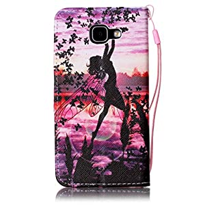Samsung Galaxy A5 2016 Model/A510 case [With Tempered Glass Screen Protector],Grandoin Retro Leather Folio Bumper Case ,Excellent Quality Colorful Elegante Pattern Design Premium PU Closure Exact Fit Strap Leather Wallet Protective Flip Case Cover for Sam