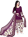 #10: Raghavjee Sarees Women's Crepe Dress Material(Lcx6022_Purple Wine_Free Size)
