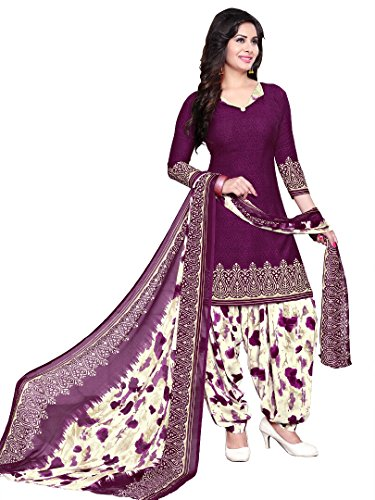 Raghavjee Sarees Women's Crepe Dress Material(Lcx6022_Purple Wine_Free Size)