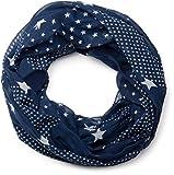 styleBREAKER Sterne Muster Loop Schlauchschal, seidig leicht, Damen 01016088, Farbe:Dunkelblau-Weiß (One Size)