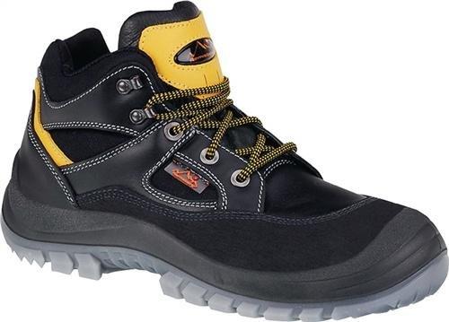 Stivali di sicurezza laccio in pelle di bovino, m, überkapp, scarpa dimensioni: 43, colore: nero