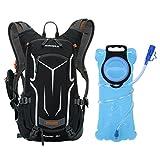 OUTON 18L Fahrrad Hydration Rucksack mit 2L Wasser Blase, leicht atmungsaktiv Reflektierende Hydration Pack Rucksack mit Regen Abdeckung für Radfahren, Laufen, Wandern, Skifahren(Schwarz&Grau)