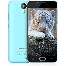 "Blackview BV2000 - Smartphone libre de 5.0"" HD Teléfonos Móviles Gratis con Dual Sim 4G Smartphone Barato (Dual Cámara 5MP + 2MP, MTK6735 Quad-Core,8GB ROM,2400mAh Batería, Android 5.1)(Azul)"
