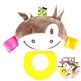 Cartoon animaux en peluche Baby Soft Toy Teething Rattle Bell Teether (Ane)...