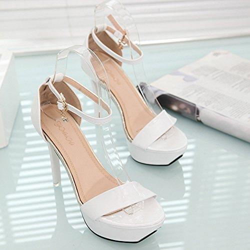 Longra Donna Super sandali della punta del Tutto-fiammifero Fibbia tacco alto Bianca