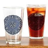 CafePress–Blume des Lebens _ blau _ Ornament–Pint-Glas, 16oz Trinkglas farblos