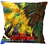 Handicrunch Red car painting cushion cover