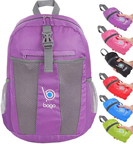 Faltbarer Rucksack für Männer Frauen Kinder Leichter Reiserucksack Tagesrucksack (Purple)