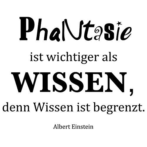 WANDKINGS Wandtattoo - Phantasie ist wichtiger als Wissen, denn Wissen ist begrenzt. (Albert Einstein) - 50 x 40 cm - Schwarz - Wähle aus 5 Größen & 35 Farben