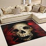 Naanle Blutige Skully rutschfeste Bereich Teppich für Dinning Wohnzimmer Schlafzimmer Küche, 50x 80cm (7x 2,6m), Sugar Skull Kinderzimmer-Teppich, Teppich Yoga-Matte, multi, 150 x 200 cm(5' x 7')