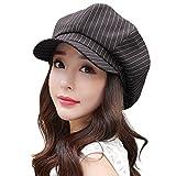 SIGGI Baumwolle Zeitungsjunge Mütze Schirmmütze Damen mit Visor schwarzer Streifen