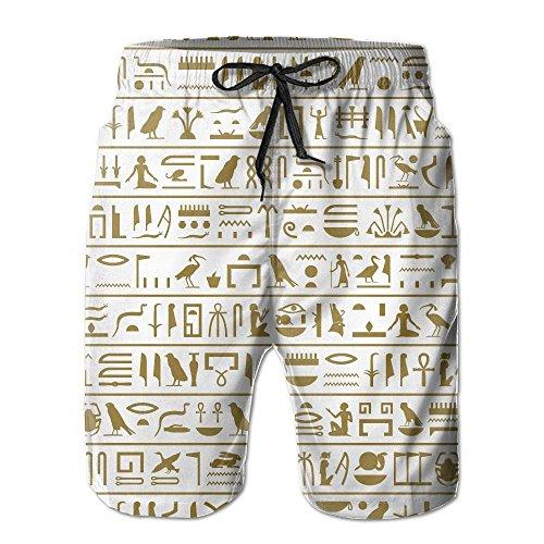 bikini bag Seamless Level Of The Ancient Egyptian Hieroglyphs Men's/Boys Casual Shorts Swim Trunks Swimwear Elastic Waist Beach Pants With Pockets -