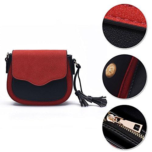 Borsa a tracolla singola Yoome in nabuk per borsa da donna Borsa a tracolla vintage in nappa con borsa - Grigio Marrone