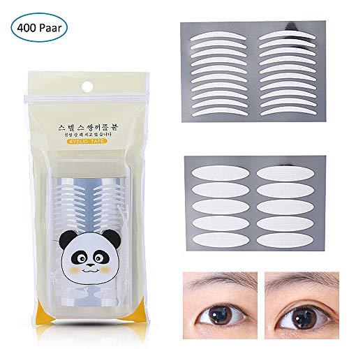 400 Paar Eyelid Tapes, MS.DEAR Augenlid Tape Stripes Augenlid Streifen, Doppelseitiges Augenlidband Unsichtbar und Wasserdicht für ein sofortiges Augenlid-Lifting (200 Paare Slim + 200 Paar breit) - Sieht Das Augen Make-up Entferner
