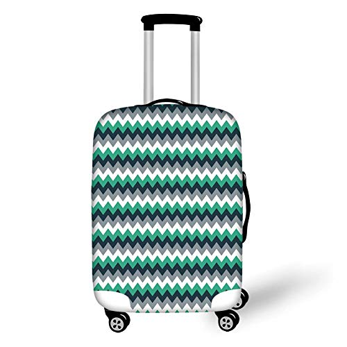 Travel Luggage Cover Suitcase Protector,Chevron,Zig Zag Symmetric Arrows Striped Pattern in Vibrant Color Artisan Print,Jade Green Grey White,for Travel Tiger Chevron Print