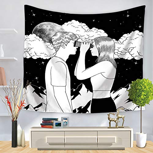 JUNZYGH Tapestry Wall Hanging,Cloud Beautiful Telescope Männliche Und Weibliche Charaktere,Indische Anfänger Gothic Psychedelic Weird Graffiti Hippie Bohemia Großformatiger Dekorativer Wandteppich,1