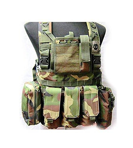 Militaire Armée MOLLE RRV Assault Combat Gilet Entraînement Protecteur Sécurité Gilet avec Poche (Des bois Camo) pour Tactique de Chasse Airsoft Extérieur Camping CS Guerre Jeu