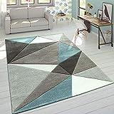 Paco Home Designer Teppich Moderner Konturenschnitt Trendige Dreiecke Pastell Grau Türkis, Grösse:120x170 cm