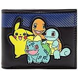 Pokemon Starter mit Pikachu auf Rubber Patch Schwarz Portemonnaie Geldbörse
