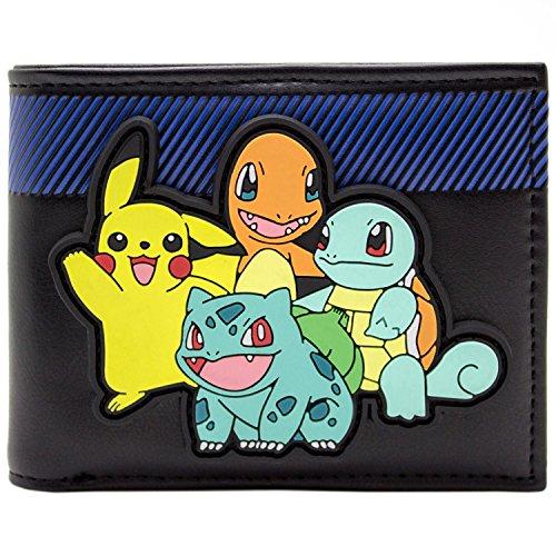 Pokemon Starter mit Pikachu auf Rubber Patch Schwarz Portemonnaie ()