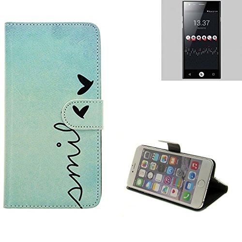 K-S-Trade® Für ID2ME ID1 Wallet Case Schutz Hülle Flip Cover Tasche ''Smile'', Türkis