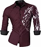 Jeansian Herren Freizeit Hemden Shirt Tops Mode Langarmshirts Slim Fit MFN_Z030 Winered L [Apparel]