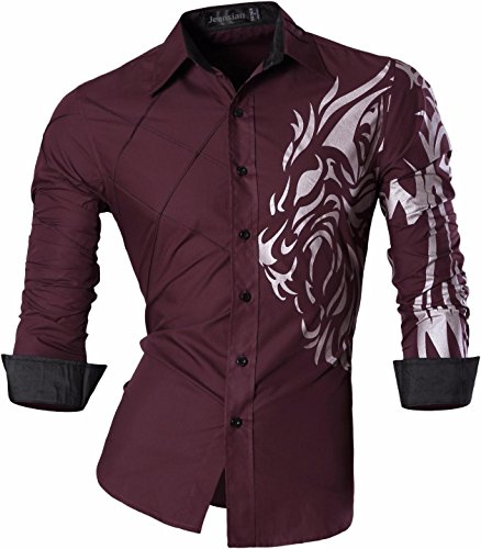 Jeansian uomo camicie maniche lunghe moda men shirts slim fit causal long sleves fashion 2028, winered, us s
