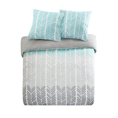 SCM Bettwäsche 200x200cm Grau Grün Mikrofaser 3-teilig Bettbezug & Kissenbezüge 80x80cm Geometrisch Chevron Adel Ideal für Schlafzimmer