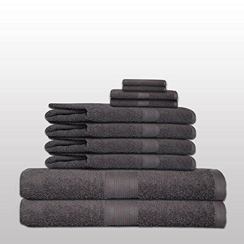 Frottee-handtücher Bad (10 tlg. klassisches Handtuch-Set - Qualität 500 g/m² - alle Farben - 4x Handtücher - 2x Duschtücher - 2x Gästetücher - 2x Waschhandschuhe - 100% Baumwolle - anthrazit / dunkelgrau)