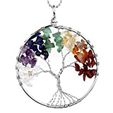 Jovivi 7 Chakra Gemstone Tree Of Life Natural Tumbled Gemstone Wire Wrapped Pendant Necklace