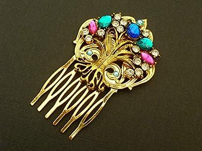 Peigne à cheveux avec arbre à bijoux en or coloré