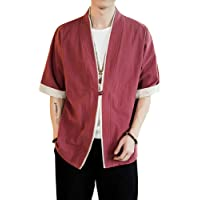 Uomo Cappotto Kimono Giapponese Mens Vintage Cloak Cotton Linen Blends Loose Fit Short Coat Jacket Cardigan