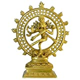 indischerbasar.de - Figurine Shiva NATARAJA laiton hauteur 21cm cuivre jaune Sculpture Statuette Hindouisme Bouddhisme Artisanat d'art indien