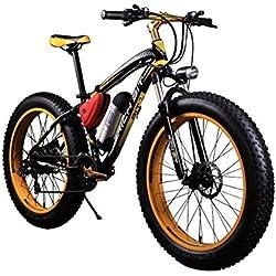 """Bicicletas eléctricas para hombre Cruiser grasa bicicleta RT012 350 W * 36 V * 10.4ah Fat tire 26 """"* 4.0 21speed Shimano dearilleur Amarillo"""